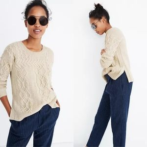 Madewell Open Side Bobble Pullover Chunky Ivory White Knit Sweater Size XXS